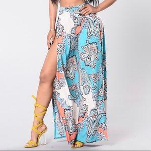 Paisley print wide leg side slit pants